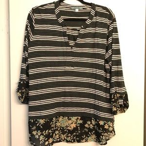Pleione Grey Striped/Floral Trim Blouse size XL